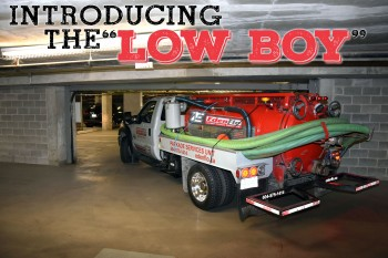 LowBoy service for underground parkades and low clearance areas to clean and maintain catch basin, pump chambers and sump pits